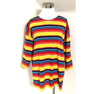 Vintage 90s Rainbow Stripe Shirt